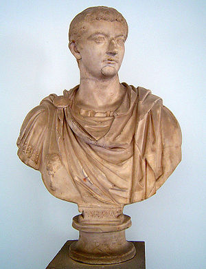 Bust of the Roman Emperor Tiberius. On display...