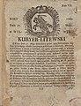 Title page of Kuryer Litewski newspaper (1760, Vilnius).jpg