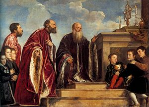 Ca' Vendramin Calergi - Portrait of the Vendramin Family (1543–47), painting by Titian.