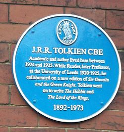 Photo of John Ronald Reuel Tolkien blue plaque