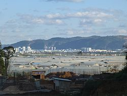 A view of Tonghai county seat from west-north-west