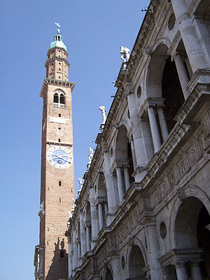 Basilica Palladiana - Clocktower (known as Torre Bissara) and loggia of the Basilica Palladiana