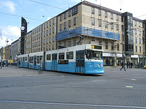 Gothenburg tram network - A tram running at Brunnsparken in central Gothenburg.