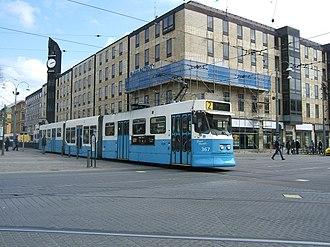 Gothenburg tram network - A tram running at Brunnsparken in central Gothenburg.