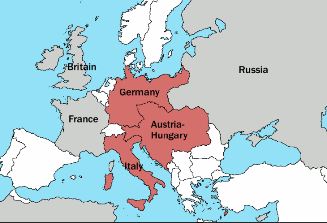 The Triple Alliance in 1913, shown in red Triple Alliance.png