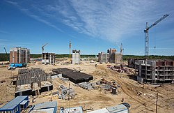 Construction of residential buildings in summer 2015