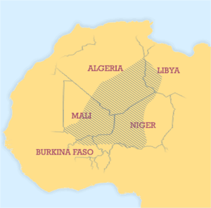 Aftermath of the 2011 Libyan Civil War - A map of the Tuareg region.