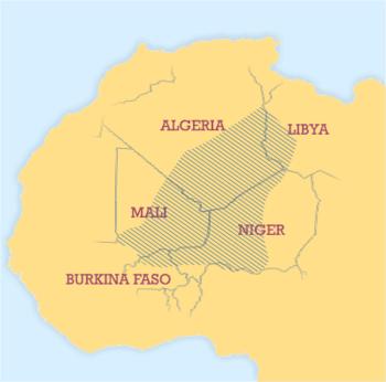 Tuareg people are spread across a large area o...