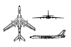 An orthographically projected diagram of the Tupolev Tu-16