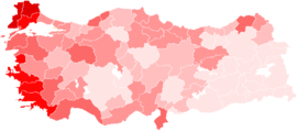 Turkish general election CHP votes by province