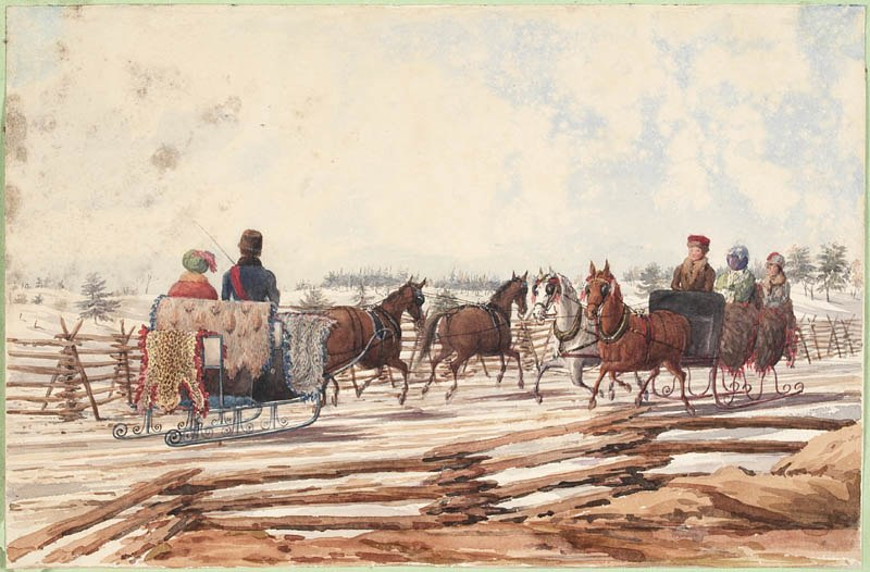 Two Sleighs on a Country Road