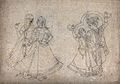 Two couples in a dance position. Ink drawing. Wellcome V0045230.jpg