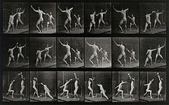 Two men fencing. Photogravure after Eadweard Muybridge, 1887 Wellcome V0048680.jpg