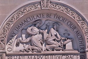 John Angel (sculptor) - Signed tympanum at Basilica of the National Shrine of the Immaculate Conception, Washington D.C.