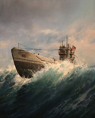 U-boat - Oil painting of a Kriegsmarine U-boat, by Augusto Ferrer-Dalmau