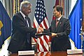U.S. Defense Secretary Chuck Hagel, left, and South Korean Defense Minister Han Min-koo shake hands after signing a memorandum of understanding at the Pentagon 141023-D-NI589-220d.jpg