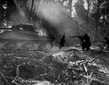 U.S. soldiers advancing at dawn through a jungle in Bougainville, behind a M4 Sherman