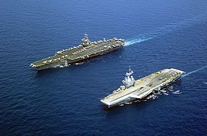 France and weapons of mass destruction - The French nuclear-powered aircraft carrier Charles de Gaulle and the American nuclear-powered carrier USS ''Enterprise'' (left), each of which carry nuclear-capable fighter aircraft