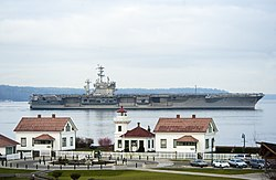 The USS Nimitz passing the Mukilteo Lighthouse