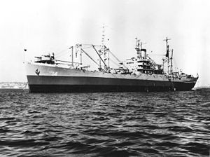 USS Oberon (AKA-14) at anchor in the 1940s