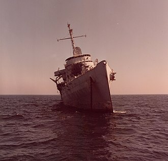 USS Ozark (LSV-2) - This photo shows Ozark listing at 16 degrees to starboard 12 hours before she sank.