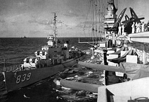 USS Power (DD-839) refueling from Midway (CVB-41) c1947
