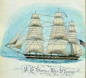 USS St. Louis (1828) - USS St. Louis by Gunner Moses Lane during her cruise in the Mediterranean from 1852 to 1855.