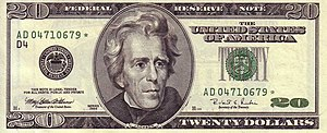 Series 1996 $20 Federal Reserve Note. US $20 Series 1996 Obverse.jpg