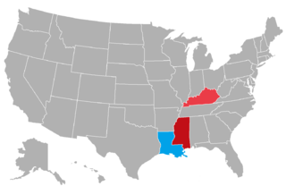 Color coded map of the 2015 gubernatorial races