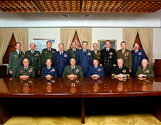 Joint Chiefs of Staff - The Joint Chiefs of Staff (seated) and the directors of the Joint Staff directorates (standing), November 1989.
