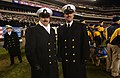 US Navy 031206-N-2383B-164 (MCPON) Terry Scott and CNO-Directed Command Master Chief William Nissen of the U.S. Naval Academy take to the field during the final minutes of the 104th Army Navy game.jpg