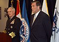 US Navy 041117-N-2227W-003 Commander, North American Aerospace Defense Command (NORAD) and United States Northern Command (USNORTHCOM), Adm. Timothy J. Keating, introduces Secretary of Homeland Security Tom Ridge during a press.jpg