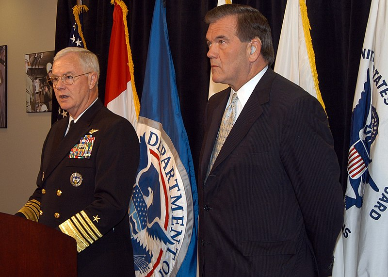 File:US Navy 041117-N-2227W-003 Commander, North American Aerospace Defense Command (NORAD) and United States Northern Command (USNORTHCOM), Adm. Timothy J. Keating, introduces Secretary of Homeland Security Tom Ridge during a press.jpg