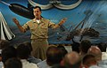 US Navy 050913-N-2383B-120 Chief of Naval Operations (CNO) Adm. Mike Mullen addresses junior Sailors during breakfast in the galley of the Navy's first submarine base in Groton, Conn.jpg