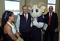 US Navy 051130-N-0295M-003 The U.S. Naval Academy mascot Bill the Goat poses for a photo with Secretary of Defense Donald Rumsfeld as Secretary of the Army Francis J. Harvey looks-on during a Pep-Rally.jpg