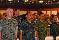 US Navy 070508-N-4124C-031 Military leaders of the United States, Thailand, Japan, Indonesia and Singapore stand at attention during the Thai national anthem as part of the opening ceremony for Cobra Gold 2007.jpg