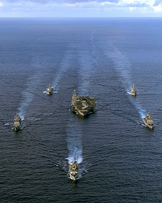 Carrier Strike Group 10 - The group performs a multi-ship maneuvering exercise in November 2007