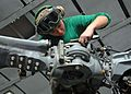 US Navy 081202-N-2456S-029 Aviation Electrician's Mate 3rd Class Corinna Benz installs a blade-fold harness on a blade of an SH-60F Sea Hawk.jpg