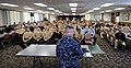 US Navy 090330-N-5328N-793 Master Chief Petty Officer of the Navy (MCPON) Rick D. West speaks to Sailors at the Center for Information Dominance Corry Station Crosswinds Club.jpg