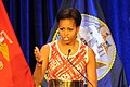US Navy 110407-N-4930E-181 First Lady Michelle Obama talks about the individual accomplishments of each recipient for the Military Child of the Yea.jpg