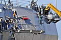 US Navy 110825-N-YF306-020 Sailors aboard the guided-missile destroyer USS Mason (DDG 87) supervise as a crane pulls up the brow of the ship in pre.jpg