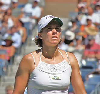 Gréta Arn - Arn in her first-round match against Kim Clijsters at the 2010 US Open