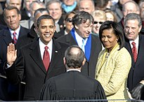 Barack Obama was inaugurated at the United States Capitol on January 20, 2009.