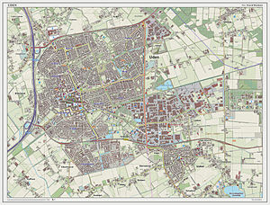 Uden - Topographic map of Uden (town), as of March 2014.