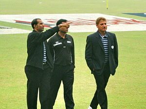 Enamul Haque (cricketer, born 1966) - Umpire Enamul Haque (right) examining Dhaka Mirpur ground with colleagues Zameer Haider and AFM Akhtaruddin prior to 3rd ODI between Bangladesh and Zimbabwe in January 2009.