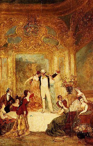 La Païva - Une Soireé Chez La Païva by Adolphe Joseph Thomas Monticelli, which depicts a party at Esther Lachmann's mansion in Paris.