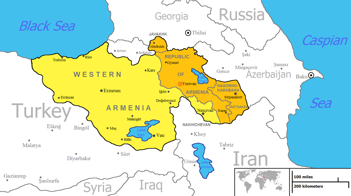 Armenia On A Map United Armenia   Wikipedia