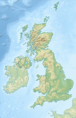 Map of England and Wales with a red dot representing the location of the Cleveland Hills in the north-east of England