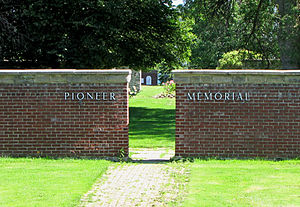 The Lost Villages - Entrance to Pioneer Memorial that contains headstones from cemeteries of the Lost Villages
