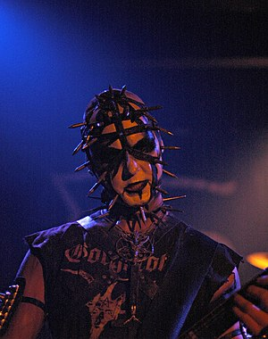 Baroeg - Enzifer, the guitarist of Urgehal during a gig in Baroeg (2007)